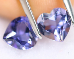 1.38cts Heart Cut Natural Purplish Blue Iolite Pair / KL466