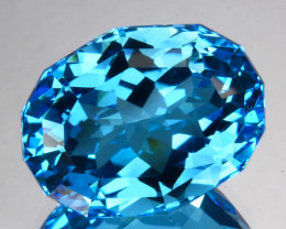 ~CUSTOM CUT~ 15.36 Cts Natural Swiss Blue Topaz Fancy Oval Brazil