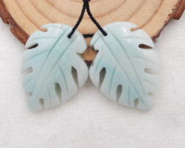 41.5ct Natural amazonite carved leave shape earring beads H444