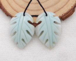 26ct Natural amazonite carved leave shape earring beads H445
