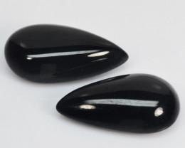 30.19 Cts 2 Pcs 100% Natural Pair Of Black Onyx Loose Gemstones