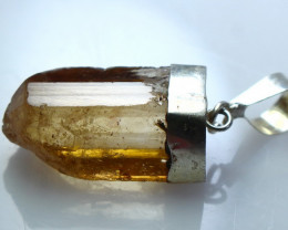 23.60 CT Natural - Unheated Brown Topaz Pendant With Silver Cap