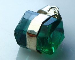 9.90 CT Natural - Unheated Green Fluorite Pendant With Silver Cap
