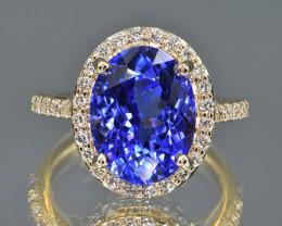 Natural Tanzanite, Diamonds and 14K Yellow Gold Ring, Elegant Design