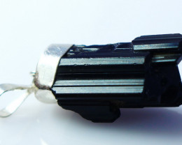54.40 CT Natural - Unheated Black Tourmaline Pendant With Silver Cap