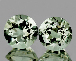 8.00 mm Round 2 pcs Soft Yellowish Green Prasiolite [VVS]