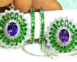 109.8 Tcw. Chrome Diopside, Amethyst Earrings, Ring, Pendant, Chain