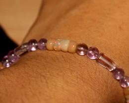 30 Crts Natural Ethiopian Welo Opal & Amethyst Beads Bracelet 183