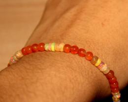 22 Crts Natural Ethiopian Welo Opal & Carnelian Beads Bracelet 176