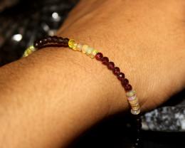 17 Crts Natural Welo Opal , Garnet, Smokey Beads Bracelet 175