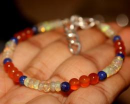 20 Crts Natural Welo Opal, Lapis, Carnelian Beads Bracelet 178