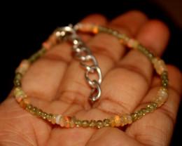 12 Crts Natural Welo Opal & Peridot Beads Bracelet 180