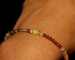 20 Crts Natural Welo Opal, Garnet,  Peridot Beads Bracelet 189