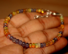 19 Crts Natural Welo Opal & Tanzanite Beads Bracelet 187