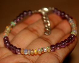 20 Crts Natural Ethiopian Welo Opal & Amethyst Beads Bracelet 190