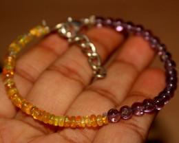 20 Crts Natural Ethiopian Welo Opal & Amethyst Bracelet 186