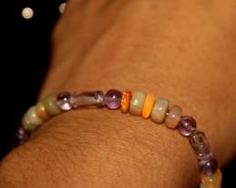 31 Crts Natural Ethiopian Welo Opal & Amethyst Cubes Bracelet 192