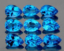 6x4 mm Pear 9 pcs 4.23cts Swiss Blue Topaz [VVS]