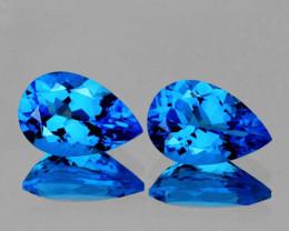 9x6 mm Pear 2 pcs 3.52cts Swiss Blue Topaz [VVS]