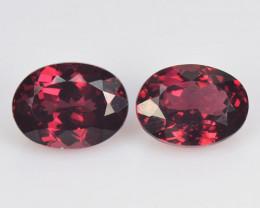 2.92 Cts 2 Pcs Unheated Natural Cherry Pinkish Red Rhodolite Garnet Gemston
