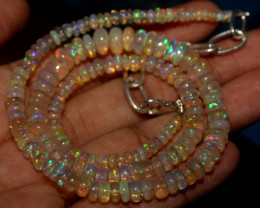 49 Crts Natural Ethiopian Welo Opal Beads Necklace 845