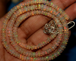 48 Crts Natural Ethiopian Welo Opal Beads Necklace 742