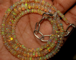 39 Crts Natural Ethiopian Welo Opal Beads Necklace 744