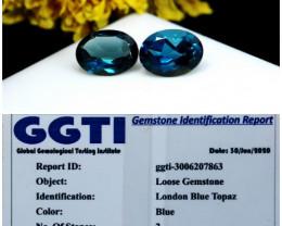 GGTI-Certified-3.05 ct Blue Topaz Gemstone Natural