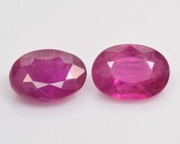 1.85 Cts 2pcs Pair Oval Shape Pinkish Red Natural Ruby BURMA  Loose Gemston