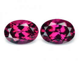 2.10 Cts 2 Pcs Unheated Natural Cherry Pinkish Red Rhodolite Garnet Gemston
