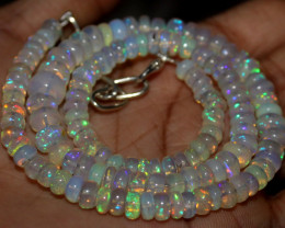 79 Crts Natural Ethiopian Welo Opal Beads Necklace 1257