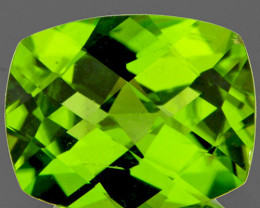 9x7 mm Cushion Checker 2.26cts Green Peridot [SI]
