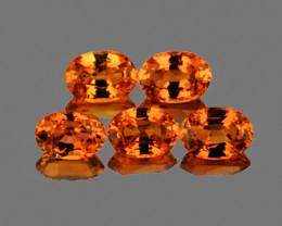 4x3 mm Oval 5 pcs 1.08cts Orange Sapphire [VVS]