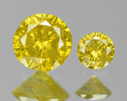 *NoReserve*Diamond 0.11 Cts 2 pcs Rare Vivid Yellow Color Natural