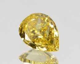 0.11 Cts Natural Untreated Diamond Fancy Yellow Pear Cut Africa
