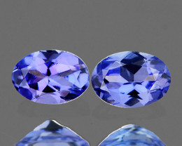 7x5 mm Oval 2 pcs 1.41cts Light Purple Blue Tanzanite [VVS]