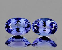 7x5 mm Oval 2 pcs 2.02cts Light Purple Blue Tanzanite [VVS}