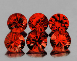 5.00 mm Round 6 pcs 3.21cts Orange Red Garnet [VVS}