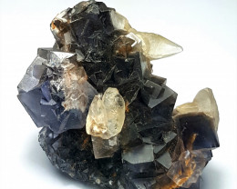 Amazing Natural color Damage free Fluorite cluster combine with Calcite 180