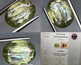 Super Big 11.45ct Color Rainbow change Diaspore also called Zultanite.