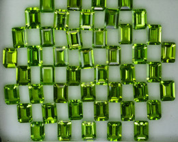 Parrot Green 46.24Ct Natural Green Peridot Cushion 7 X 5 6mm Parcel