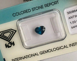 Ceylon DEEP Blue Sapphire 1.03ct Heart Cut Rare IGI CERTIFIED Loose Gem
