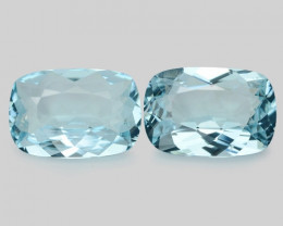 12.95 Cts 2pcs Matching Pair Santa Maria Blue  Natural Aquamarine Loose Gem