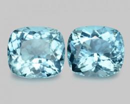 7.18 Cts 2pcs Matching Pair Santa Maria Blue  Natural Aquamarine Loose Gems