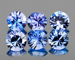 3.30 mm Round Machine Cut 6 pcs 1.10cts Ceylon Blue Sapphire [VVS]
