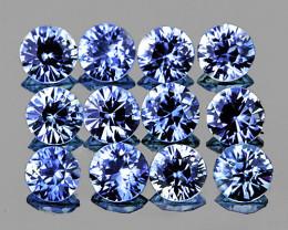 2.70 mm Round Machine Cut 12 pcs 1.12cts Ceylon Blue Sapphire [VVS]