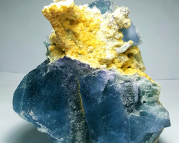 Amazing Natural color Damage free Huge  Fluorite cluster combine with Calci