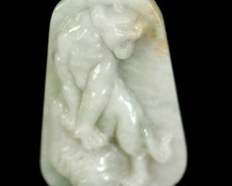 Natural Grade A Jadeite Jade Tiger Carving Pendant