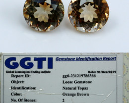 NR!!! GGTI-Certified- 10.00 Cts Orange Brown Topaz Gemstone Pair
