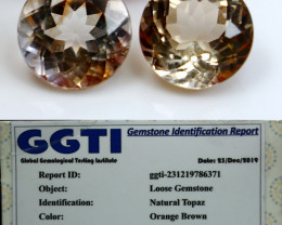 NR!!! GGTI-Certified- 9.45 Cts Orange Brown topaz Gemstone Pair